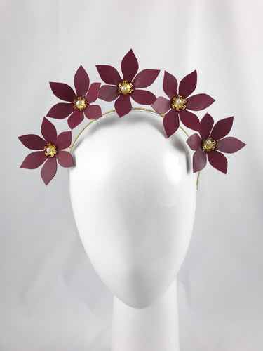 Wine Leather Flower Crown with Gold and Pearl Detail