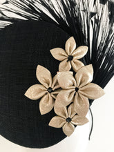 Taragh - 3D Percher Disc in Black with Feather Spray and Champagne Gold Leather Star Flowers