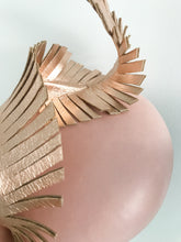 Olivia - Large Blush Pink Leather Button with Rose Gold Leather Feather