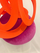 Trudy - Magenta / Fuchsia Velvet Button Base with Orange Swirls