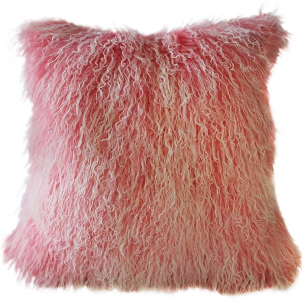 "Pillow Decor - 18"" x 18"" Frosted Pink Mongolian Sheepskin Fur Pillow"