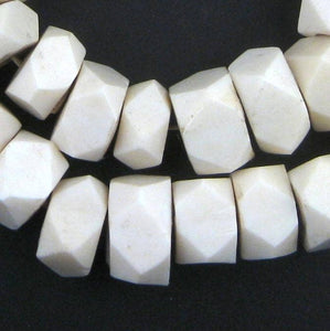 The Bead Chest - Faceted White Bone Beads