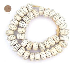 The Bead Chest - Large Watermelon Carved Bone Beads