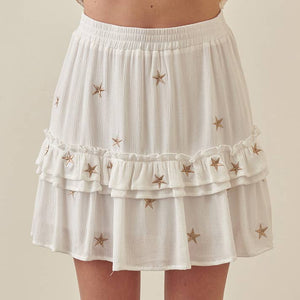 STORIA - Embroidered Star Mini Skirt