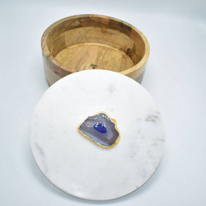 Olympus Minerals Co - Round Wooden Box with Marble Lid