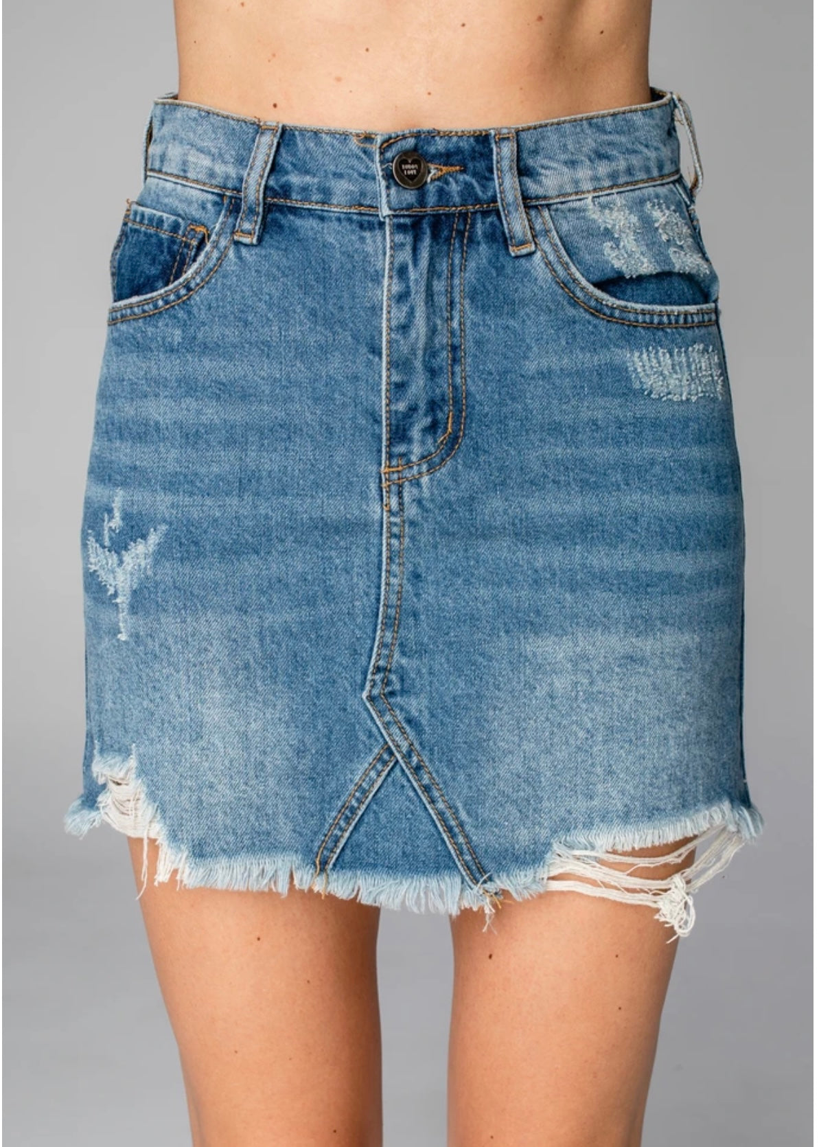BLUE WASH JEAN SKIRT