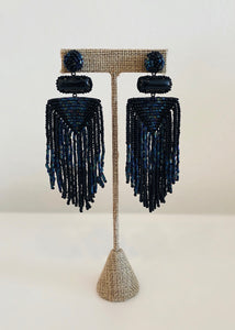 NAVY BEADED EARRINGS