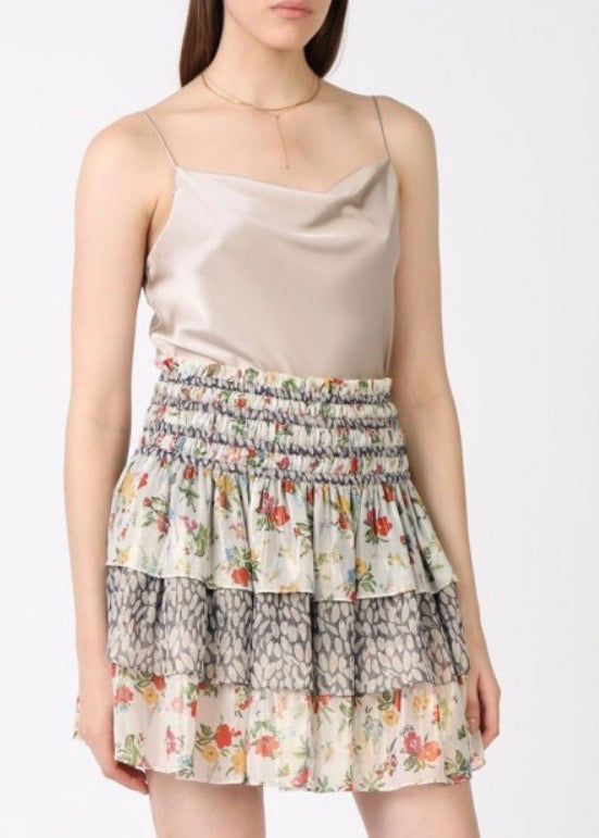 FLORAL PLEATED TIERD MINI SKIRT