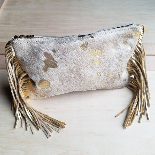 The Jewelry Junkie - Cream and Gold Hair-on-Hide Leather Clutch Handbag 501e