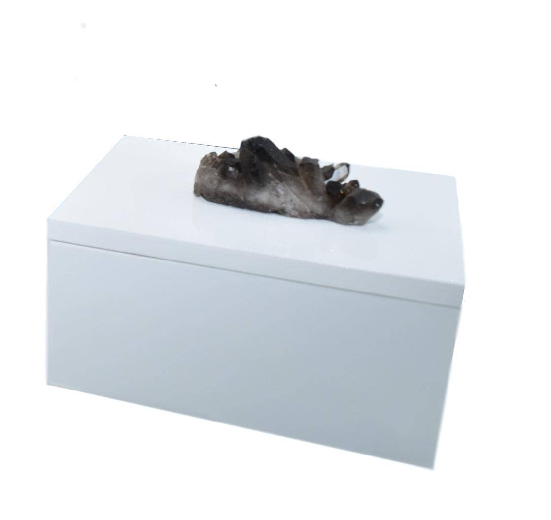 Olympus Minerals Co - Smoky Quartz on White Jewelry Box