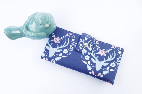 Wallet for women deer floral vegan clutch