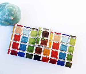 Women's wallet in colorful paintbox fabric