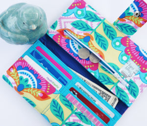 Ladies checkbook wallet bold floral