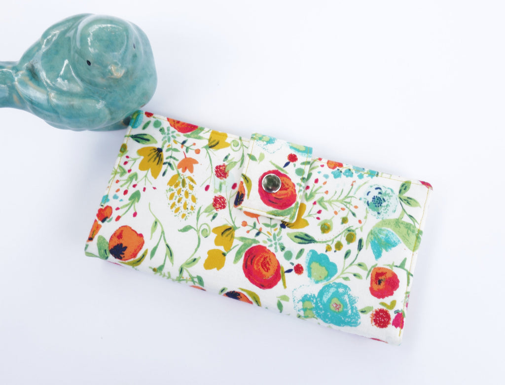 Womens wallet, womens clutch wallet, womens gift idea, wife gift idea, travel wallet, floral wallet