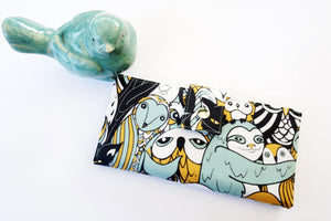 Travel wallet for women in great owl fabric