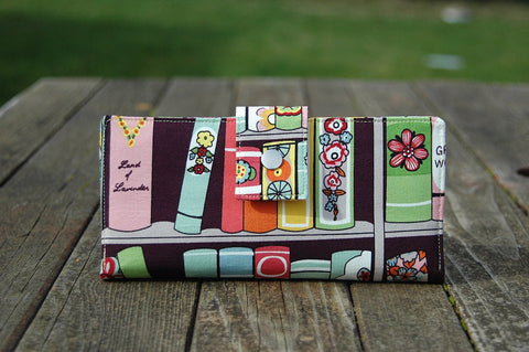 Women's clutch wallet book fabric