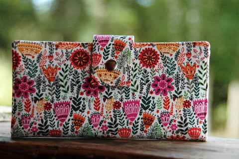 Wallet for women handmade Wild Flowers vegan