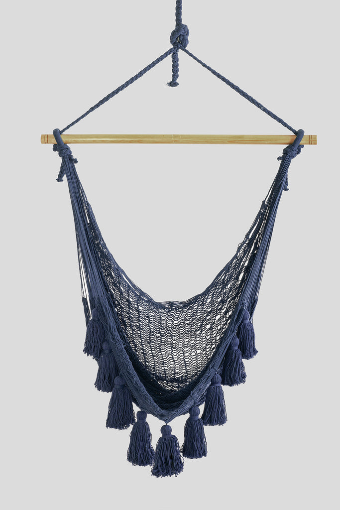 Deluxe Extra Large Mexican Hammock Chair in Outdoor Cotton Colour Blue