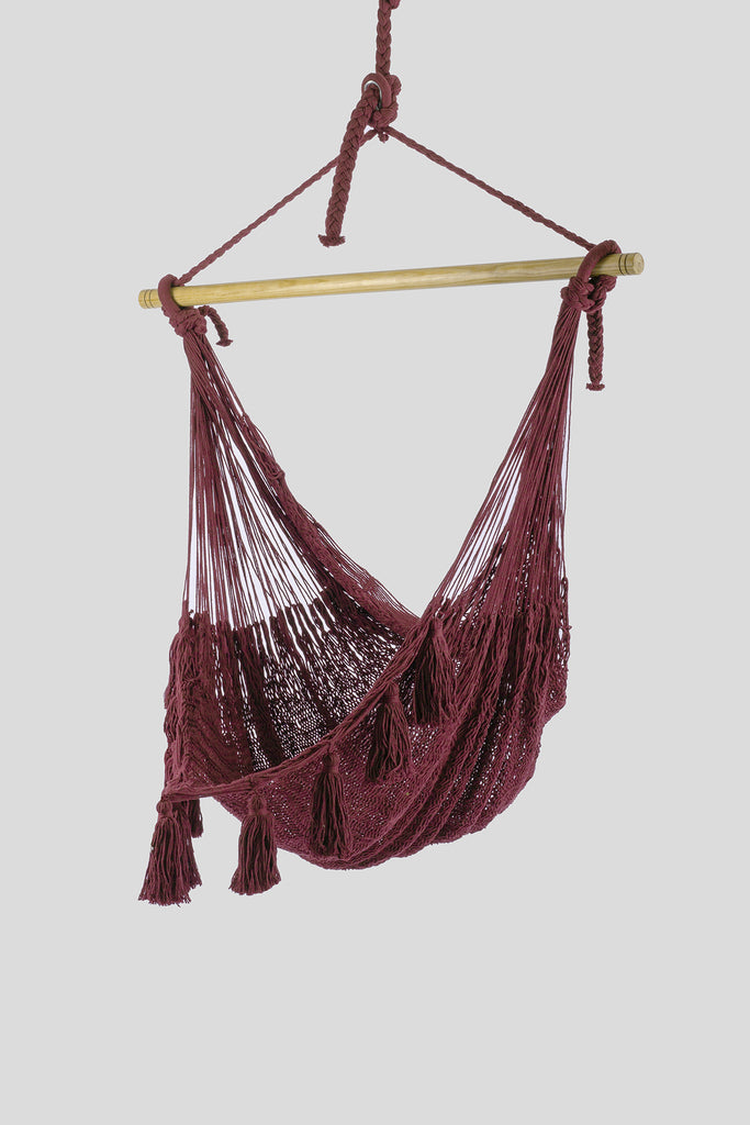 Deluxe Extra Large Mexican Hammock Chair in Outdoor Cotton Colour Maroon
