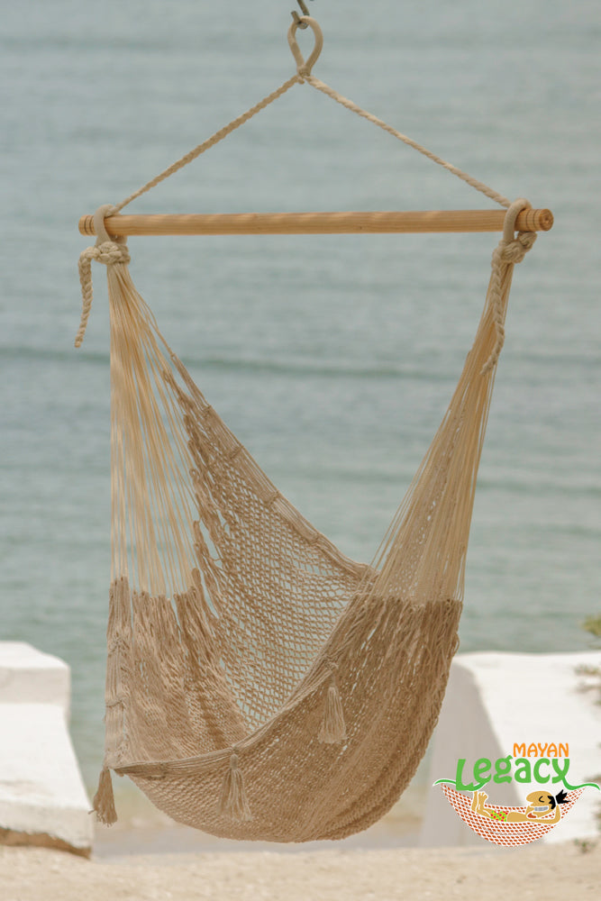 Extra Large Mexican Hammock Chair in Outdoor Cotton in Cream
