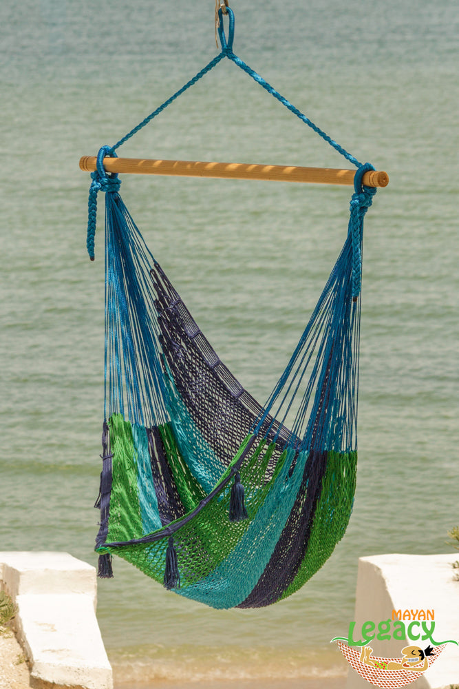 Extra Large Mexican Hammock Chair in Outdoor Cotton Colour Oceanica