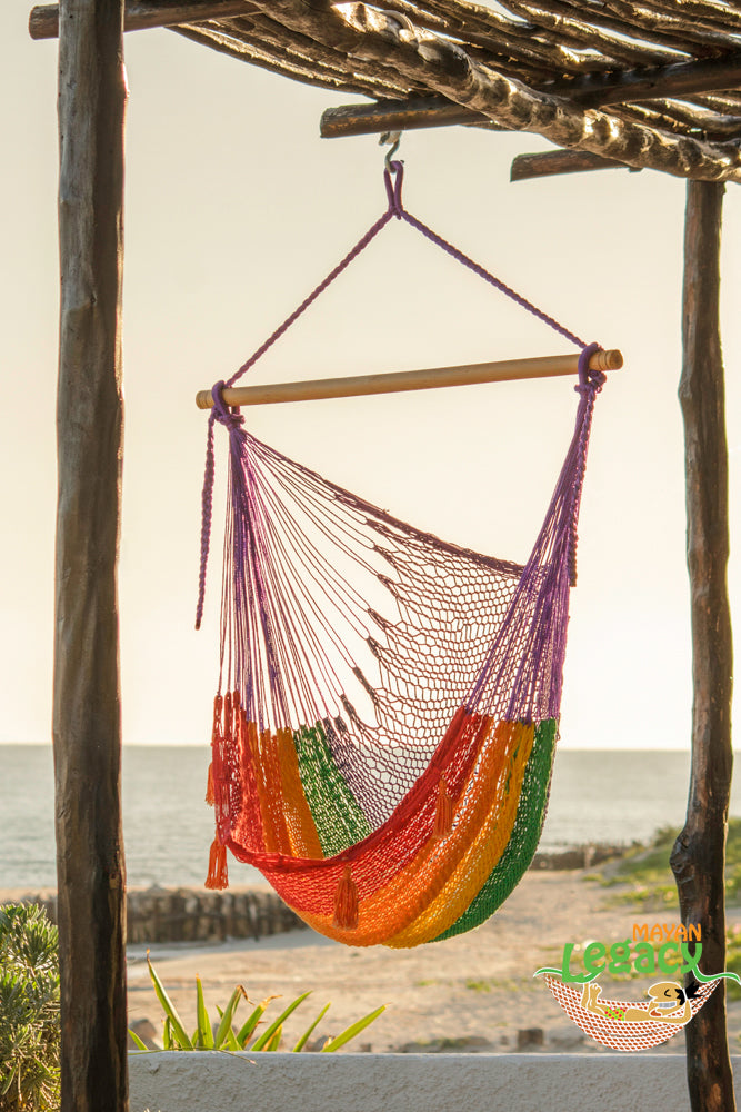 Extra Large Mexican Hammock Chair in Outdoor Cotton Colour Rainbow