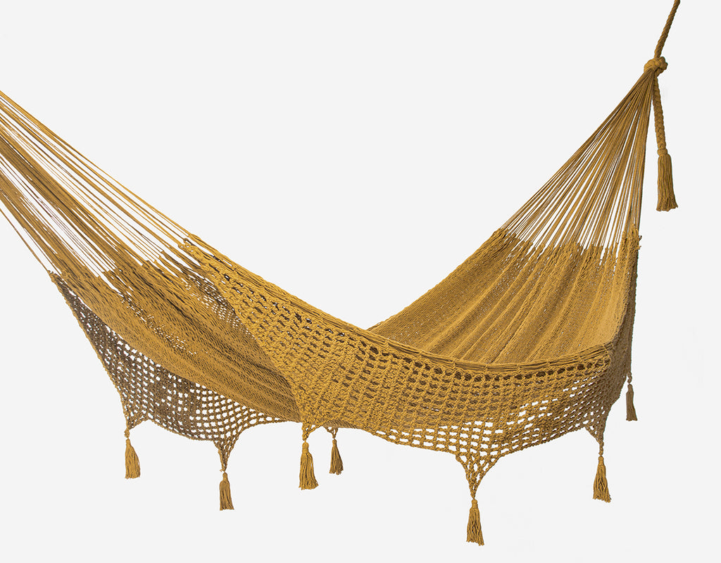 Copy of Deluxe Outdoor Cotton Mexican Hammock  in Mustard Colour