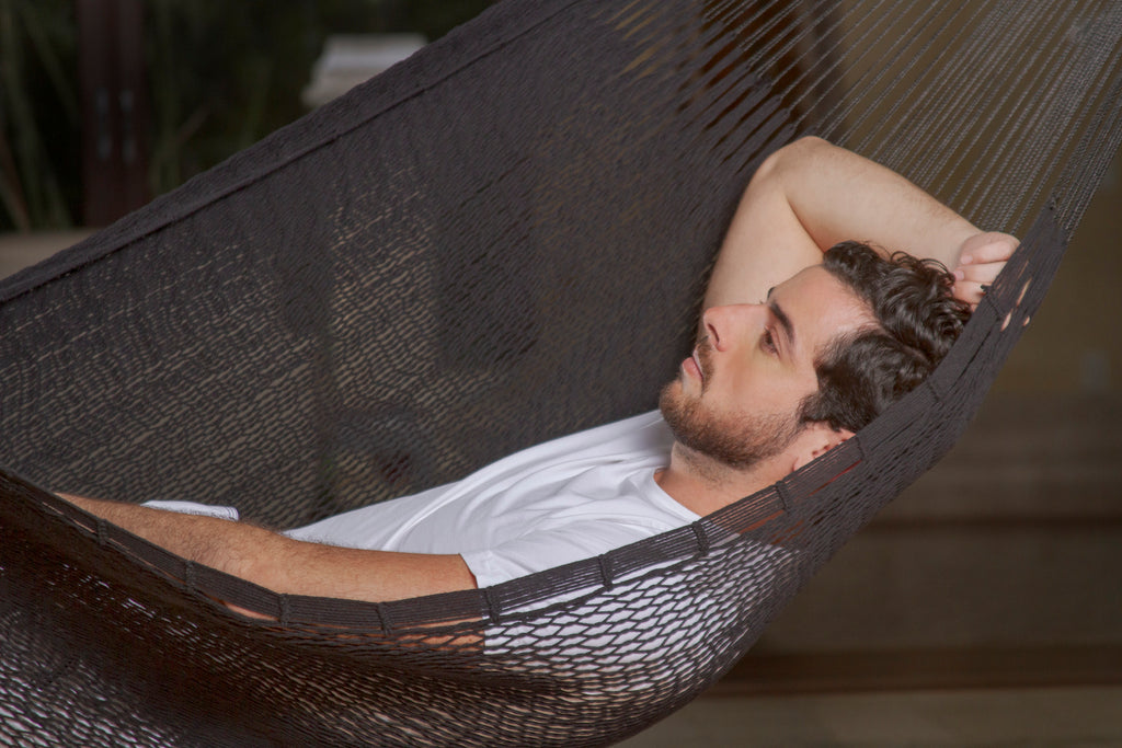 Outdoor Cotton Mexican Hammock  in Black Colour