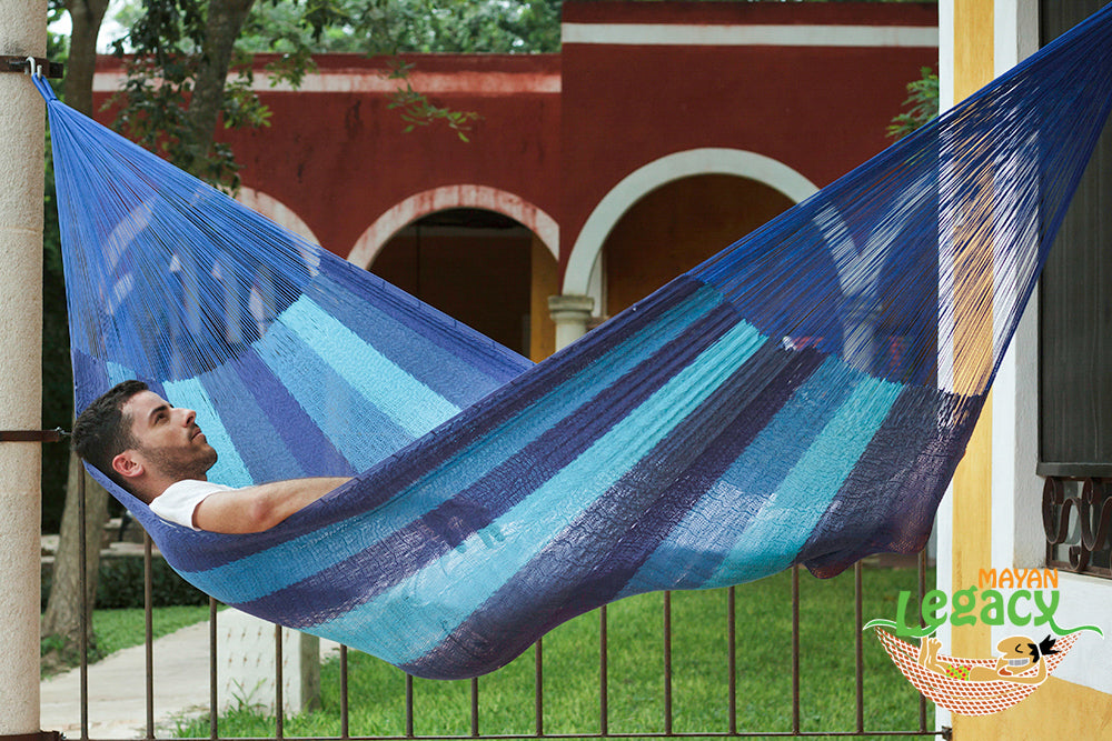 Cotton Mexican Hammock  in Caribbean Blue Colour