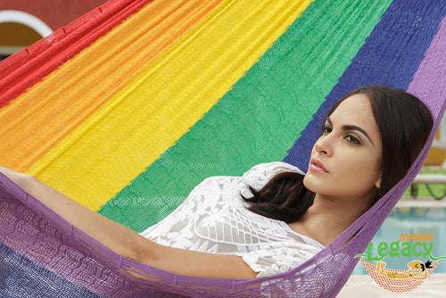 Cotton Mexican Hammock  in Rainbow Colour