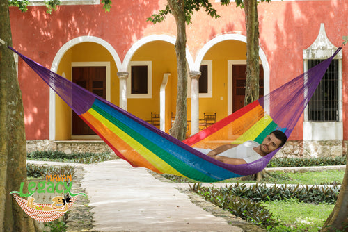 Nylon  Mexican Hammock  in Rainbow  Colour