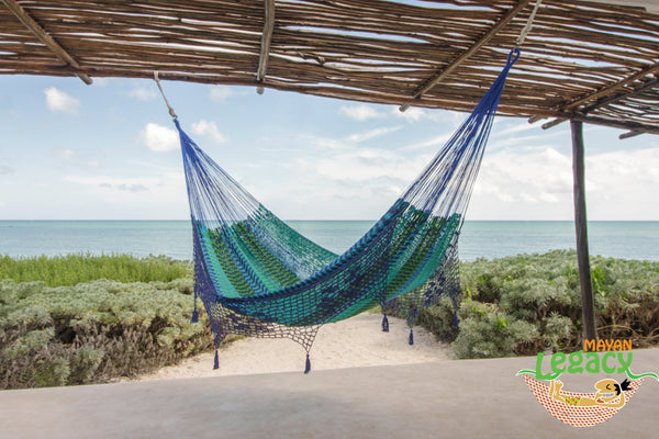 NEW: Deluxe Outdoor Cotton Mexican Hammock  in Caribe  Colour