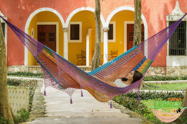 NEW: Deluxe Outdoor Cotton Mexican Hammock  in Colorina Colour