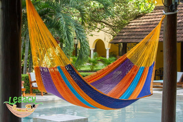 Outdoor Cotton Mexican Hammock  in Alegra  Colour