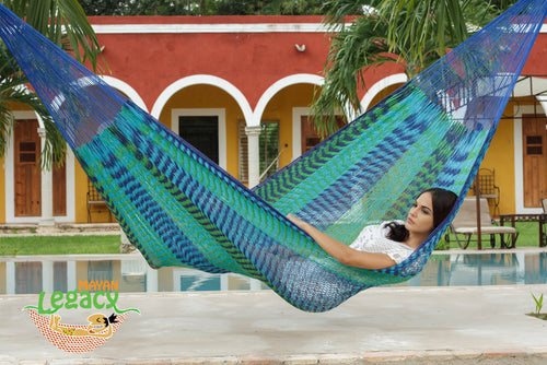 Outdoor Cotton Mexican Hammock  in Caribe Colour