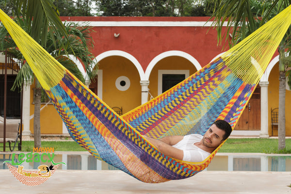 Outdoor Cotton Mexican Hammock  in Confeti Colour