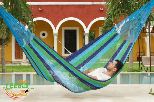 Outdoor Cotton Mexican Hammock  in Oceanica Colour
