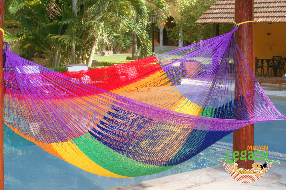 Outdoor Cotton Mexican Hammock  in Rainbow  Colour