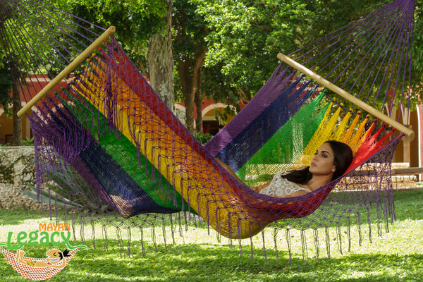 Resort Mexican Hammock with Fringe in Rainbow