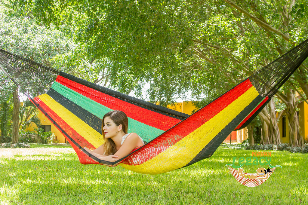 Outdoor Cotton Mexican Hammock  in Rasta Colour