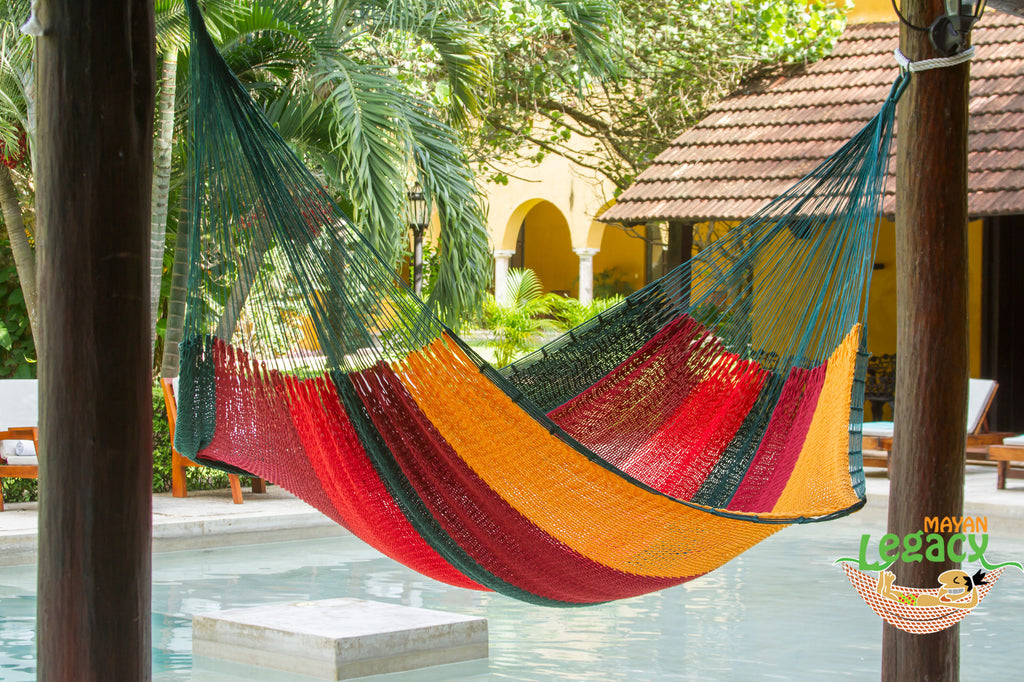 Outdoor Cotton Mexican Hammock  in Imperial Colour