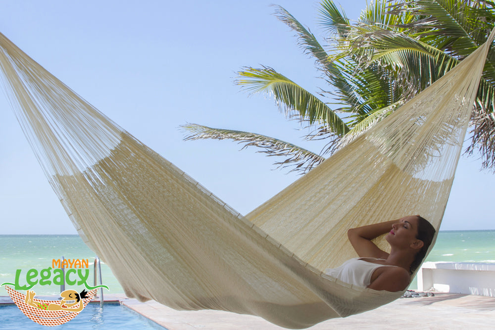 Super  Nylon Mexican Hammock  in Cream  Colour