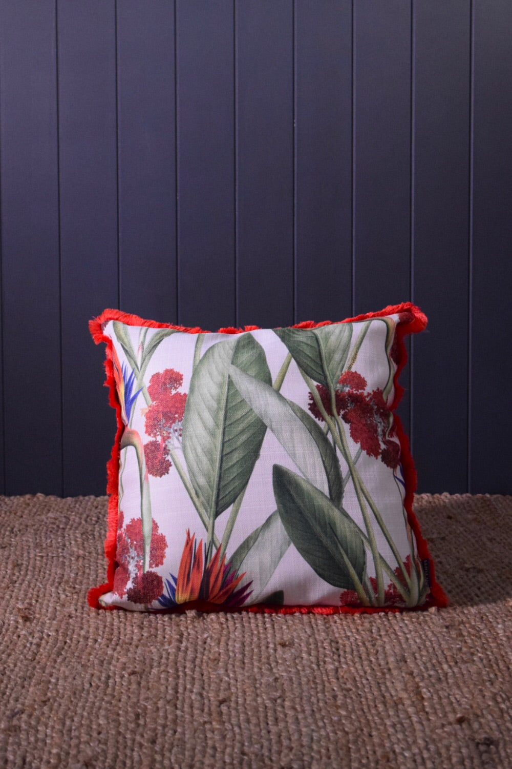 Birds of paradise Throw Cushion CREAM