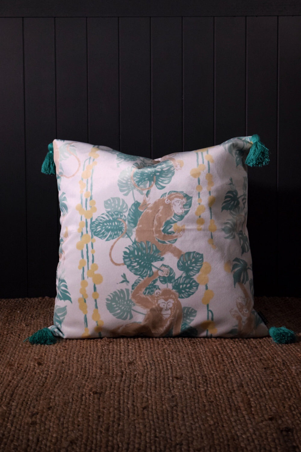 Monkey Business Velvet Cushion