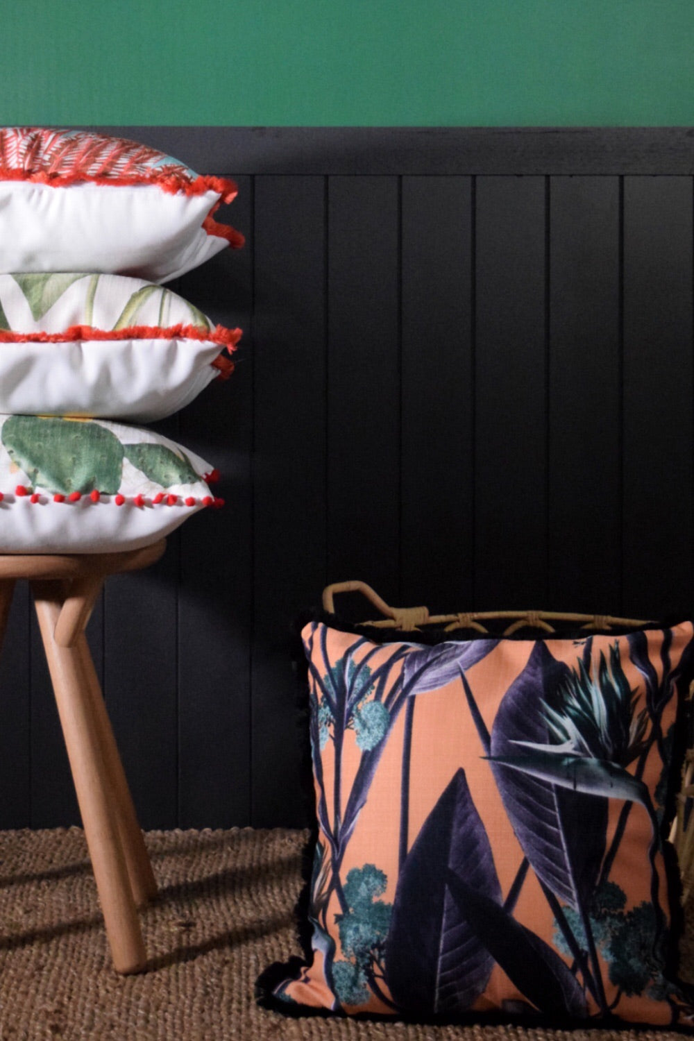 Birds of paradise Throw Cushion SALMON