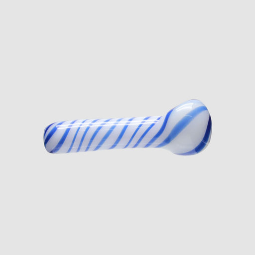 "4.5"" White Blue Zebra Glass Spoon Pipe"
