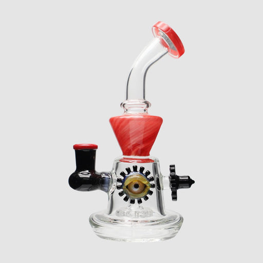 "8"" Red/Blk Eye Perc Bent Neck Dab Rig"