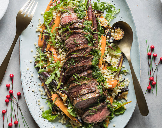 Roasted Beef with Israeli Cous Cous & Greek Salad