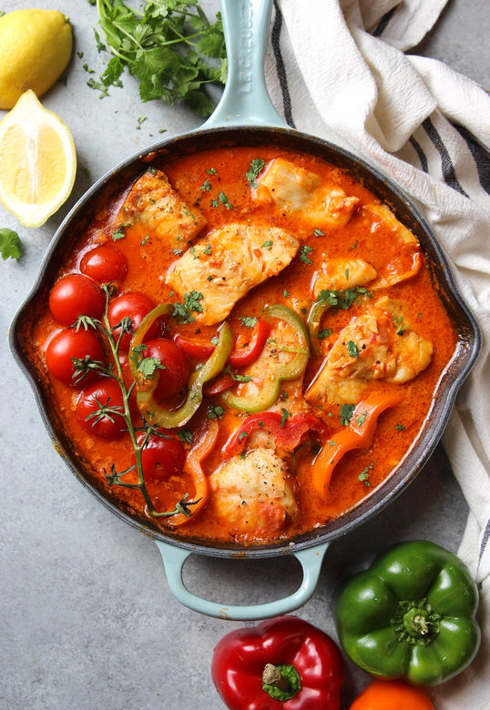 Garlic Fish in Tomato Sauce with Sweet Potatoes and Vegetables