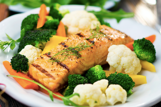 Honey Mustard Salmon with Broccoli & Cauliflower  <small> Low Carb Meal </small>